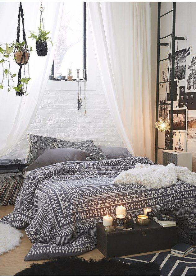 sheer curtains black and white patterned bed spread