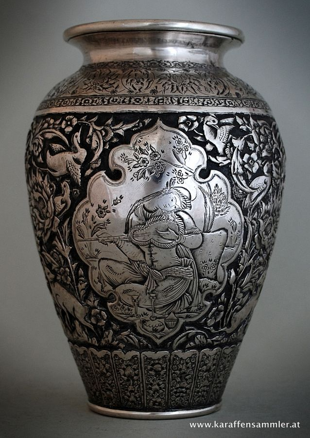 qajar esfahan persian silver vase silver and art from