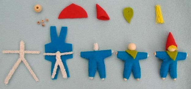 Gnome tutorial for making simple but lovely dolls out of pipe cleaners and felt.