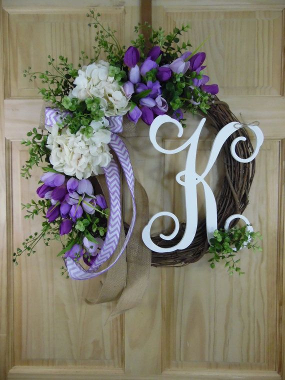 Purple tulip wreath - cream hydrangea -  spring wreath - summer wreath - hydrangea wreath - monogram wreath -easter wreaths