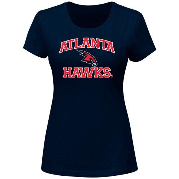 Majestic Atlanta Hawks Women's Heart & Soul Slim Fit T-Shirt - Navy Blue