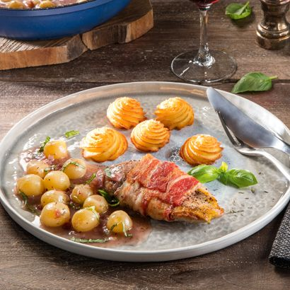 ALDI België - Recept - Fazantenborstfilet in een jasje van spek met druivensaus en pommes duchesse