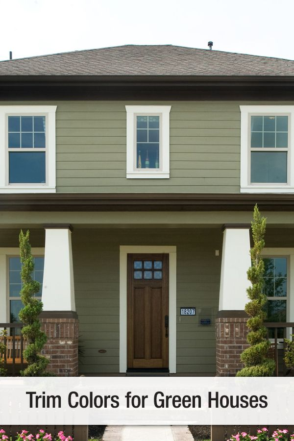 Exterior Dark Sage To Go With Dark Brown Trim House Paint