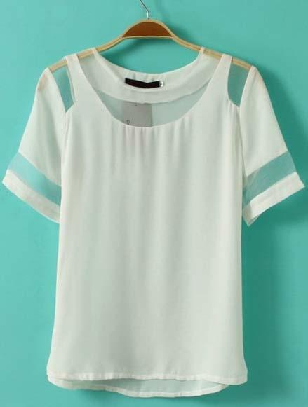 White Short Sleeve Contrast Mesh Yoke Chiffon T-Shirt