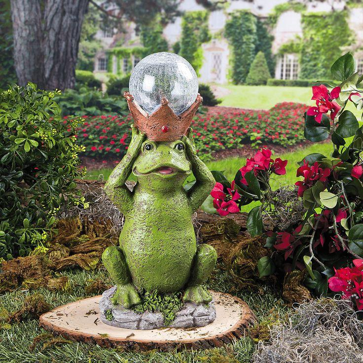 Frog Prince Solar Garden Statue   OrientalTrading.com