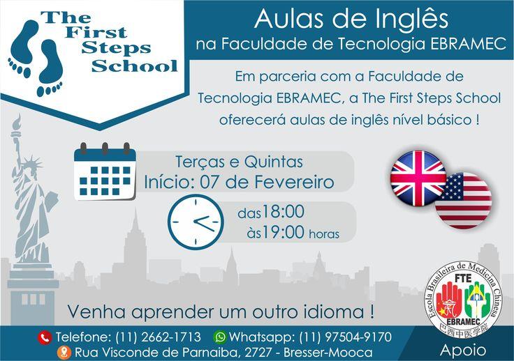 #INGLES #NIVELBASICO #THEFIRSTSTEPSSCHOOL #FTEEBRAMEC #FEVEREIRO  Agora você pode estudar Inglês na Faculdade de Tecnologia EBRAMEC!!!  A partir do dia 07/02 das 18:00 as 19:00hrs!! Acompanhe a programação e anote em sua agenda todas as terças e quintas!!!  Agora ficou mais fácil aprender outro idioma!!! Inscreva-se e Good Studies !!!  Para mais informações e inscrições ligue para: 00xx112662-1713 ou por mensagem no WhatsApp: 00xx1197504-9170 ou se preferir por email: ebramec@ebramec.com.br