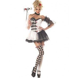 De Mooie Harlekijn Clown Vrouw Kostuum
