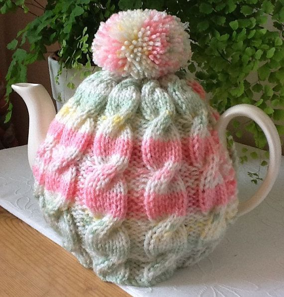 Knitted tea cosy  Tweed Cable Design by Melsey on Etsy