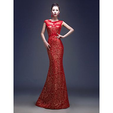 Trumpet/Mermaid Jewel Floor-length Lace Evening Dress . Love the color and design! Click the picture to see it!