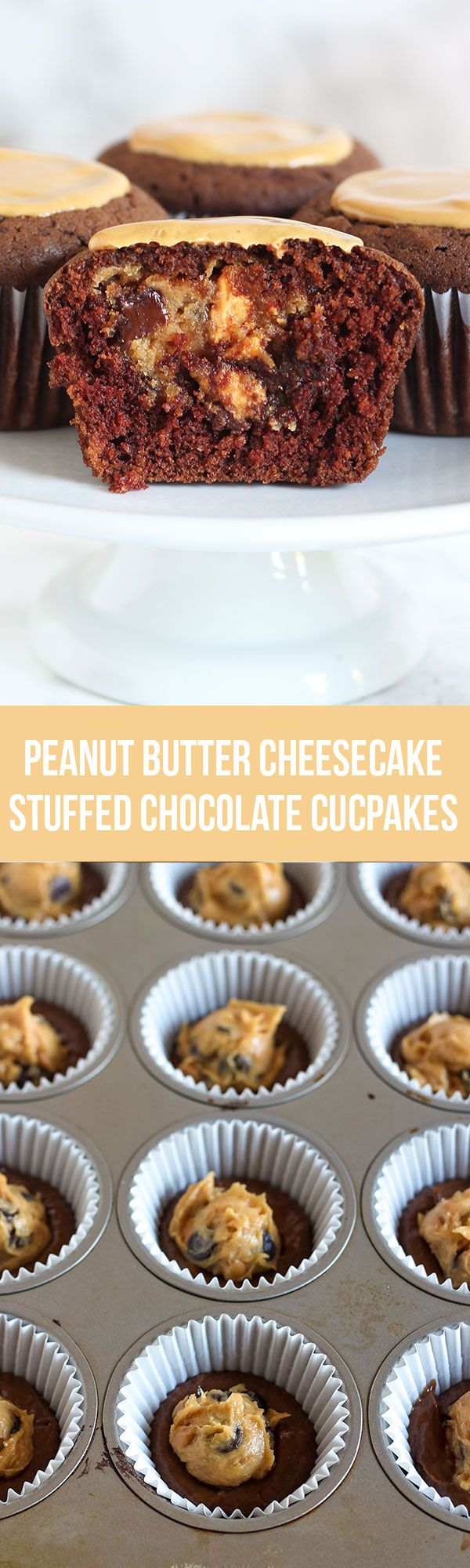 SURPRISE INSIDE! We loved this recipe! Peanut Butter Cheesecake Stuffed Chocolate Cupcakes - aka heaven!
