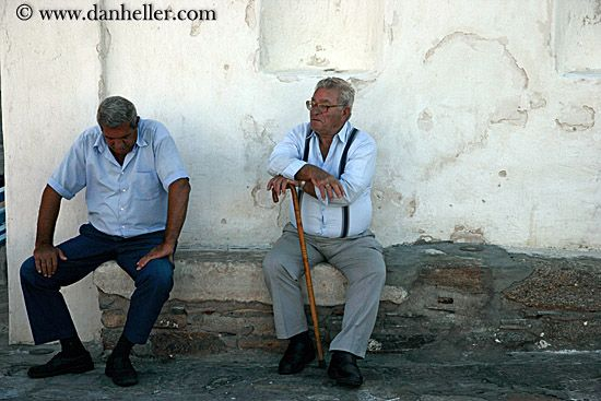 Old Greek man sitting and talking about !