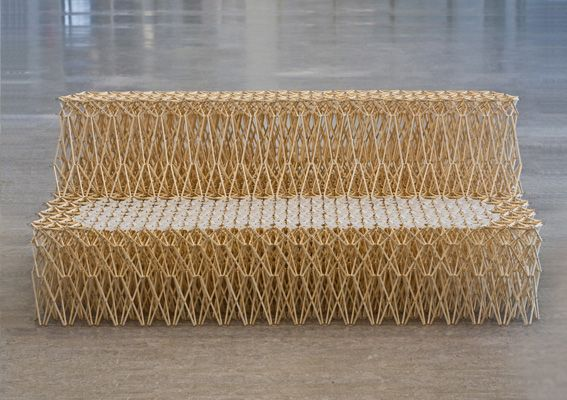 Sofa_XXXX by Yuya Ushida is made of 8000 chopsticks which have been cut into 4 lengths and can be collapsed accordion-style and scaled to a chair. #Sofa #Yuya_Ushida #Chopsticks