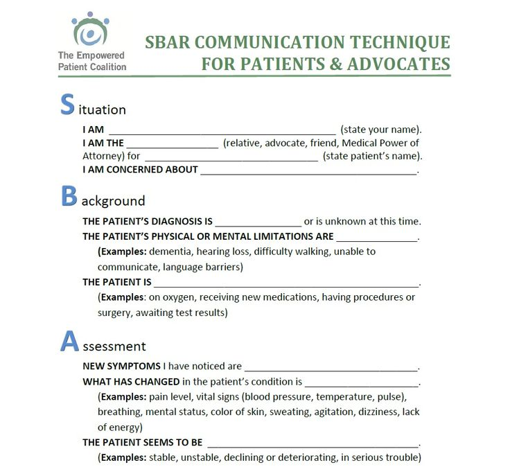 Inpatient SBAR communication form for Patient and Families