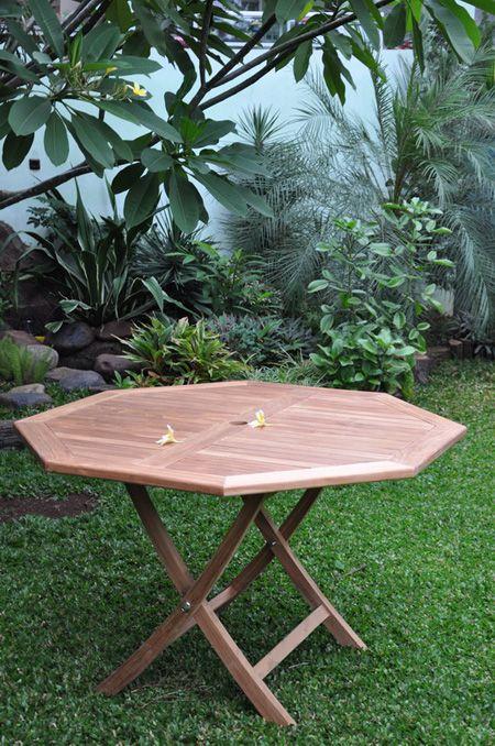 Stunning octagonal teak garden table