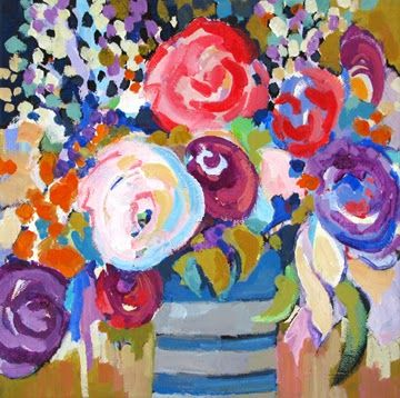 """Daily Painters Abstract Gallery: Contemporary floral painting """"Among Friends"""" by Carolee Clark, Oregon Artist"""