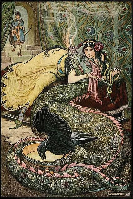 "sealmaiden: 1916 Frank Cheyne Papé (English, 1878-1972) ~ From ""The Russian Story Book"", Marina Lay Upon a Couch and Fondled a Fiery Dragon With Her Right Hand"