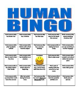 peoplehuman bingo bingo sheets bingo and getting to know