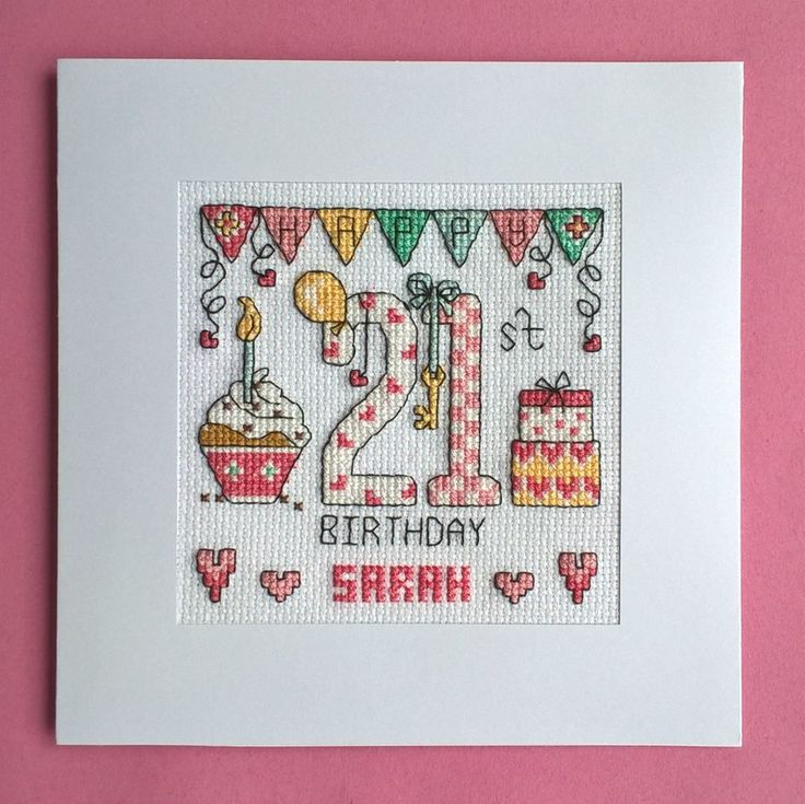 Happy 21st Birthday cross stitch card kit
