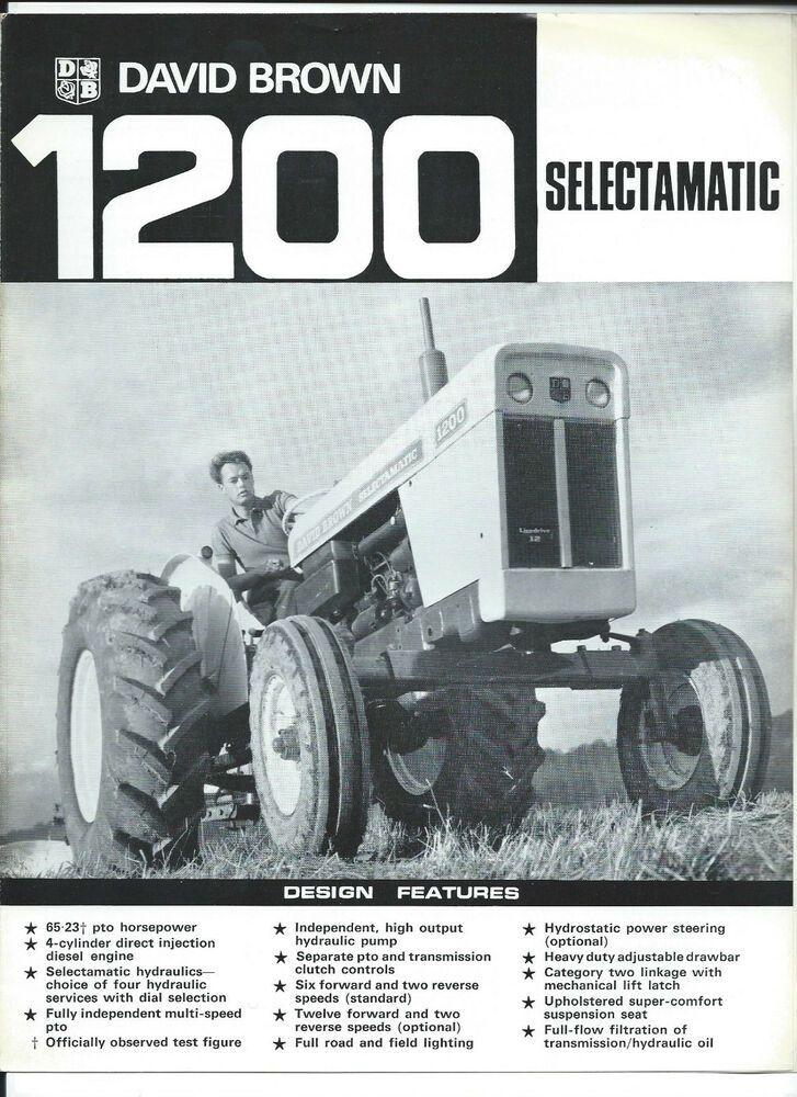 David Brown 1200 Selectamatic Leaflet Brochure Db Sales
