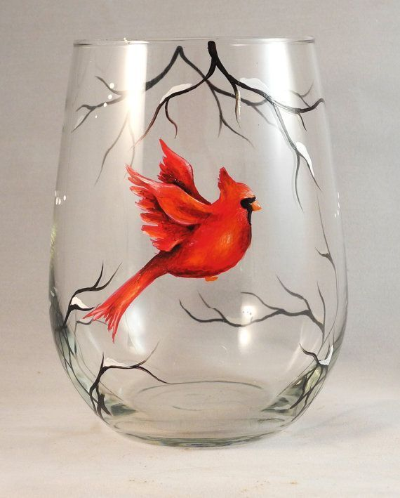 Red Cardinal Hand Painted on Stemless Wine Glass by SilviasBrush, $22.00 is creative inspiration for us. Get more photo about diy home decor related with by looking at photos gallery at the bottom of this page. We are want to say thanks if you like to share this post to … #DIYHomeDecorWineBottles