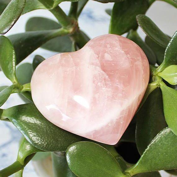 Large Rose Quartz Crystal Heart Carved Crystal Rose Quartz