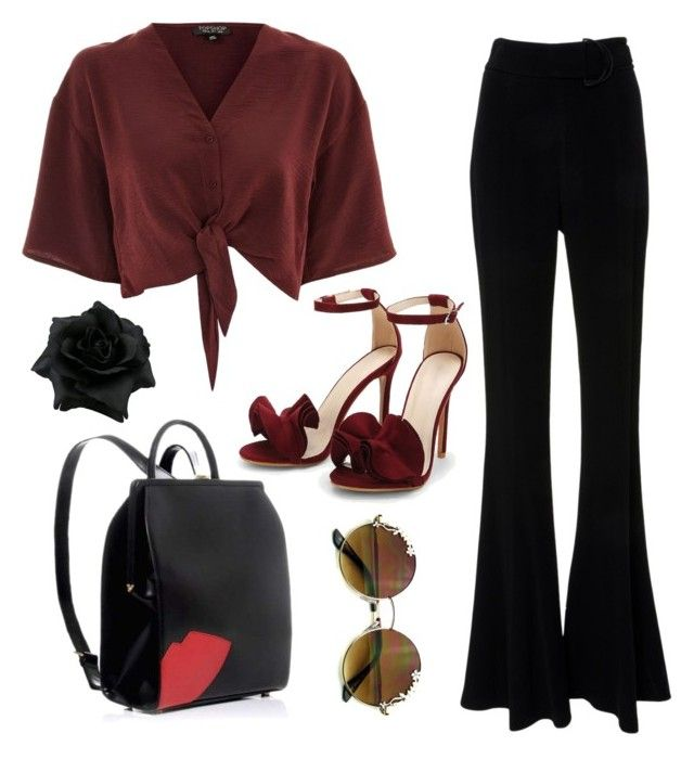 """""""Maroon"""" by vira-silvani on Polyvore featuring Topshop and Lulu Guinness"""