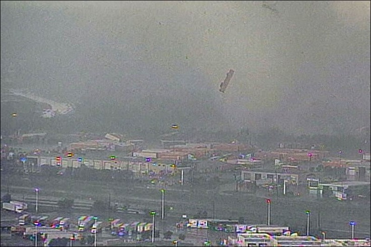 Semi truck tossed in the air   Dallas 4.3.12