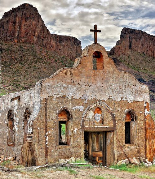 Church in the Big Bend, Texas, USA..                                                                                                                                                                                 More