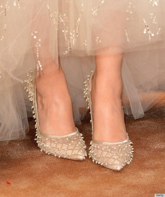 Pearl embroidered heels from Oscar de la Renta. champagne peals heels pumps