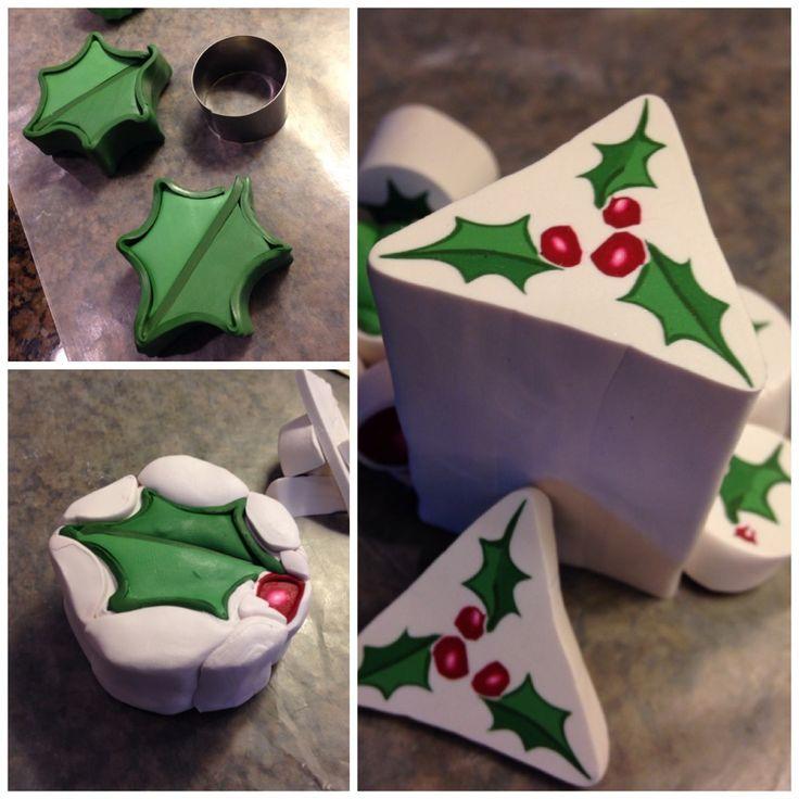 Simple Christmas Holly Polymer Clay Cane