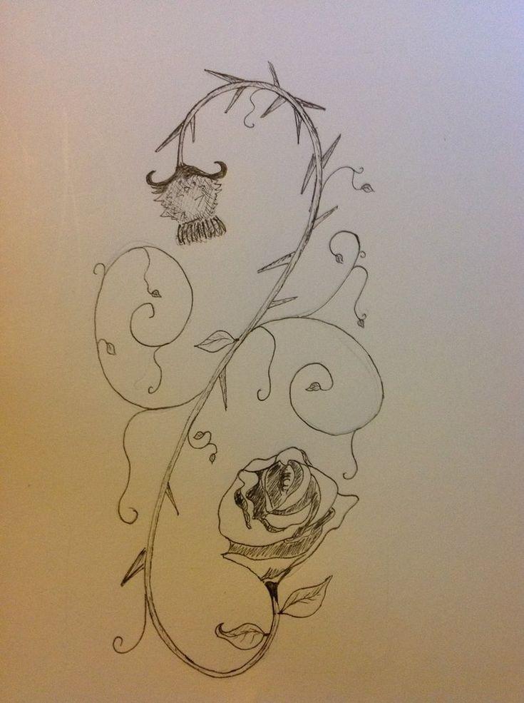 English rose to scottish thistle tattoo design by dislocator.deviantart.com on @DeviantArt