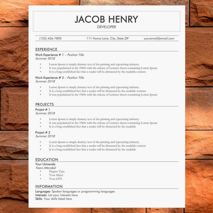 Original Resume Template Simple CV Template