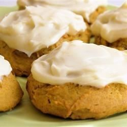 Light, moist pumpkin cookies topped with homemade cream cheese frosting are perfect for Halloween, Thanksgiving, or just for a sweet little taste of fall.