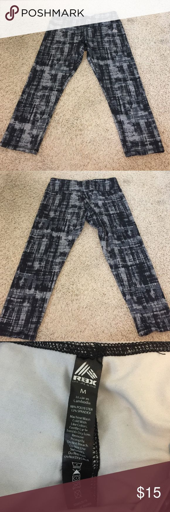 Women's athletic capris RBX Black and gray athletic pants, length comes to about mid calf Pants Capris