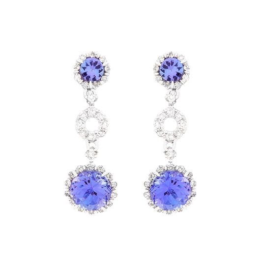 9 carat white gold diamond and tanzanite drop earrings