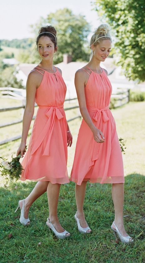 David's Bridal coral boho short bridesmaid dresses