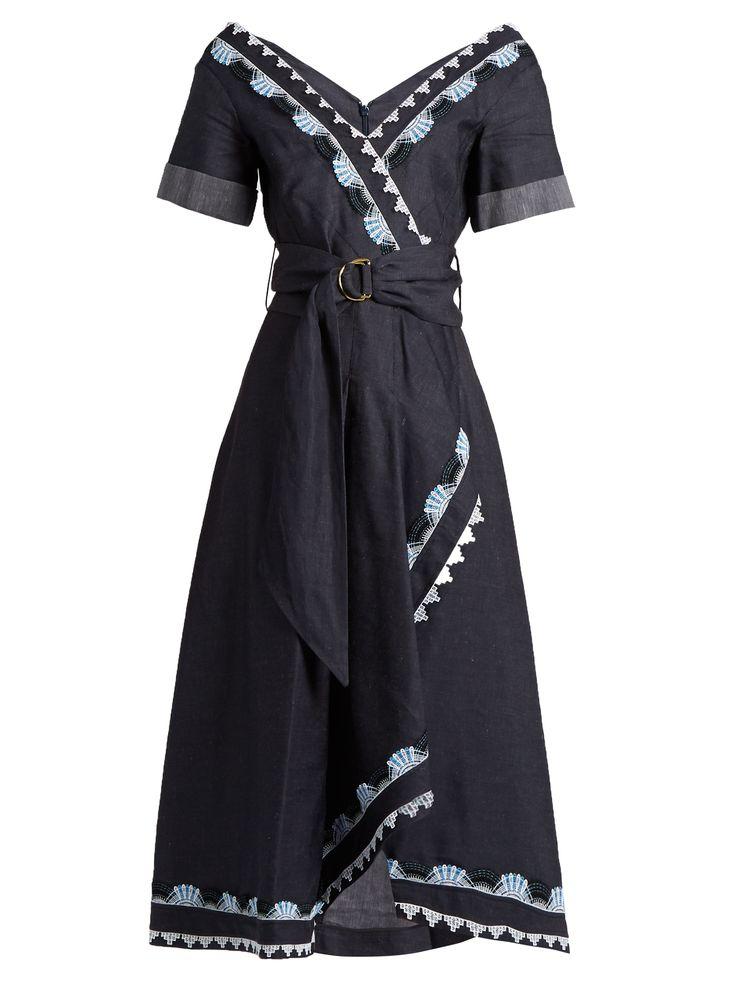 V-neck cotton and linen-blend dress | Peter Pilotto | MATCHESFASHION.COM