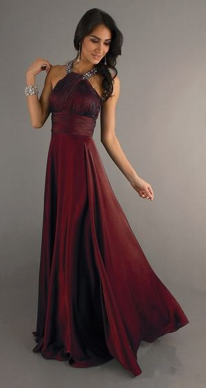 Classic High Neck Halter Prom Dress Burgundy Long Silky Satin