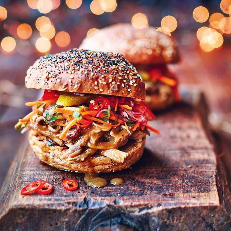 Make the most of your leftover turkey with these amazing Turkey sloppy joes, slaw with gherkins & chilli & homemade BBQ sauce. #JamieOliver