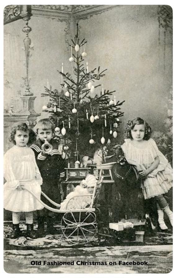 Antique photo of children at Christmas