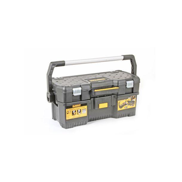 Uso industrial. Maletín superior para almacenaje. Caja para servicio pesado de plástico resistente con mango en aluminio y broches metálicos. Tiene un maletín superior adentro que es desmontable y se puede usar por separado. Capacidad de almacenar herramienta manual y eléctrica. Medida 61 x 32 x 29 cm.