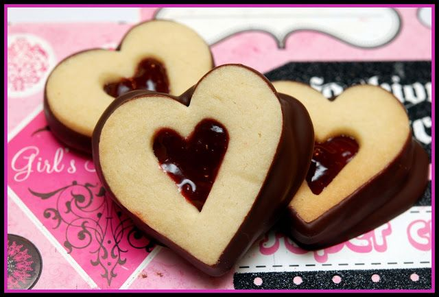 CHOCOLATE DIPPED & JAM FILLED SHORTBREAD HEARTS - Hugs and Cookies ...