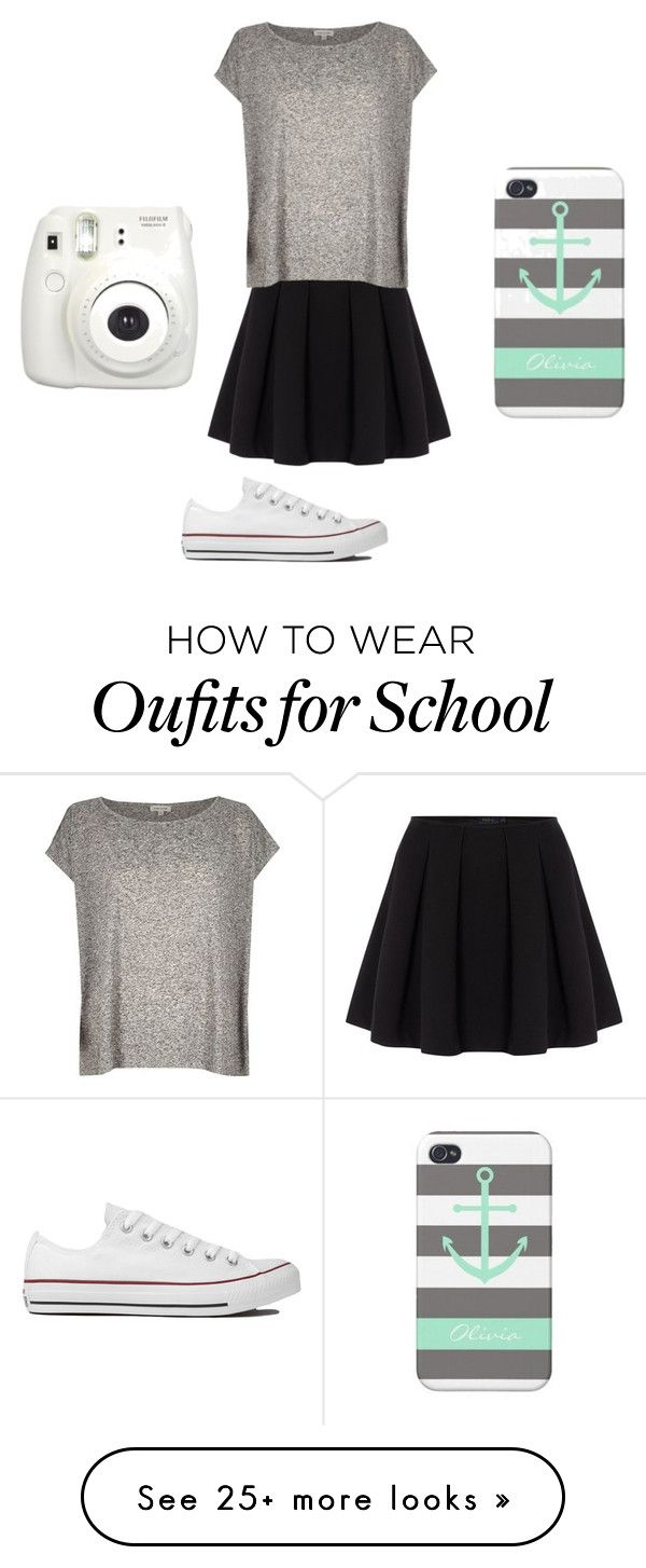 """Fancy school day outfit"" by olaroun on Polyvore featuring Polo Ralph Lauren, River Island, Converse, women's clothing, women, female, woman, misses and juniors"