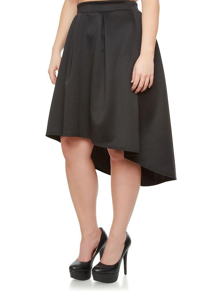 rainbow plus size scuba knit pleated high low skirt