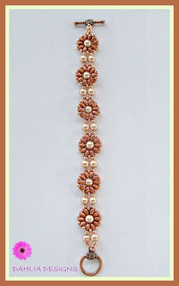 Copper SuperDuo Flower Bracelet with Glass by DAHLIAJEWELRYDESIGNS, $30.00