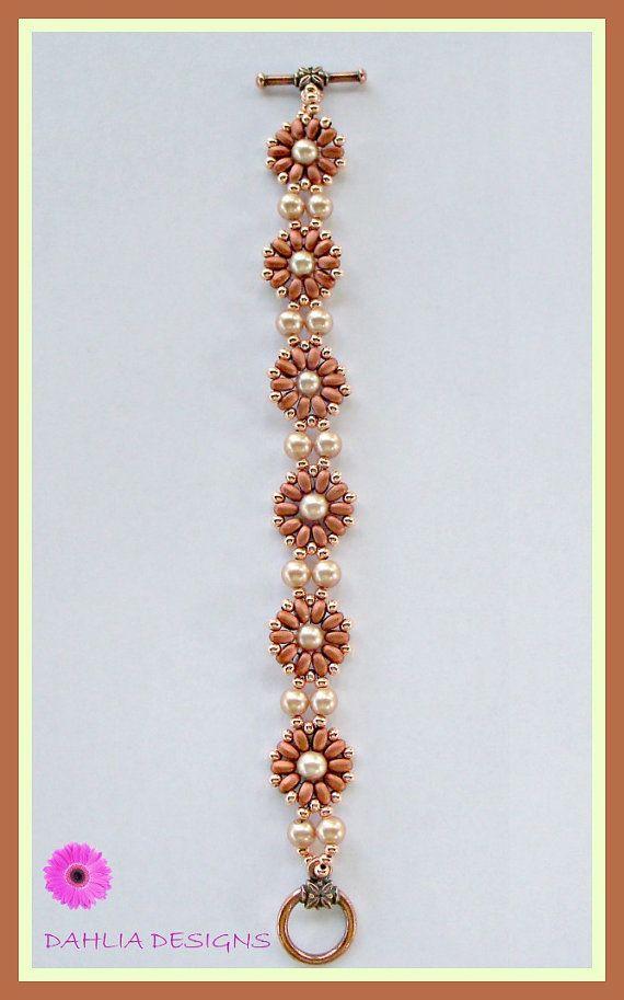 Copper SuperDuo Flower Bracelet with Glass by DAHLIAJEWELRYDESIGNS, $30.00
