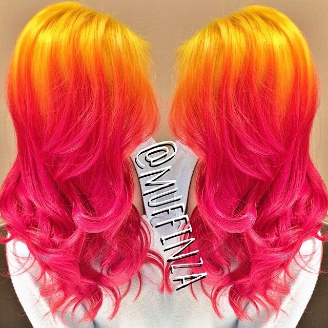 Yellow pink sunset ombre hair