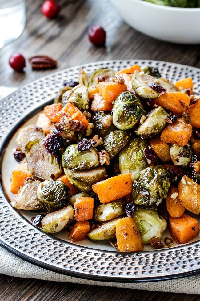 Roasted Maple Dijon Brussels Sprouts and Butternut Squash with Cranberries and Bacon | http://www.carlsbadcravings.com/roasted-maple-dijon-brussels-sprouts-and-butternut-squash-with-cranberries-and-bacon/