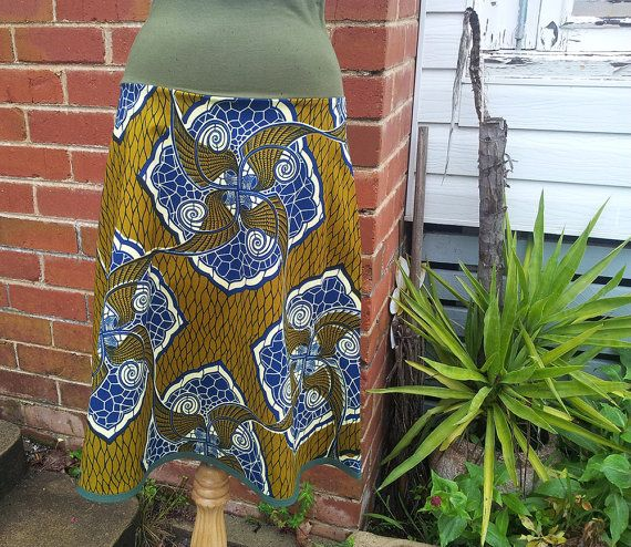 Women's African Wax Printed Cotton Aline by RachelMoonClothing