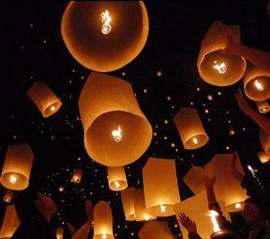 lanterne volante en papier de riz et bambou 2 tons sky lantern - Lanterne Volante Mariage